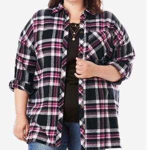 32w Roaman's Plaid Flannel Shirt pink black 5x